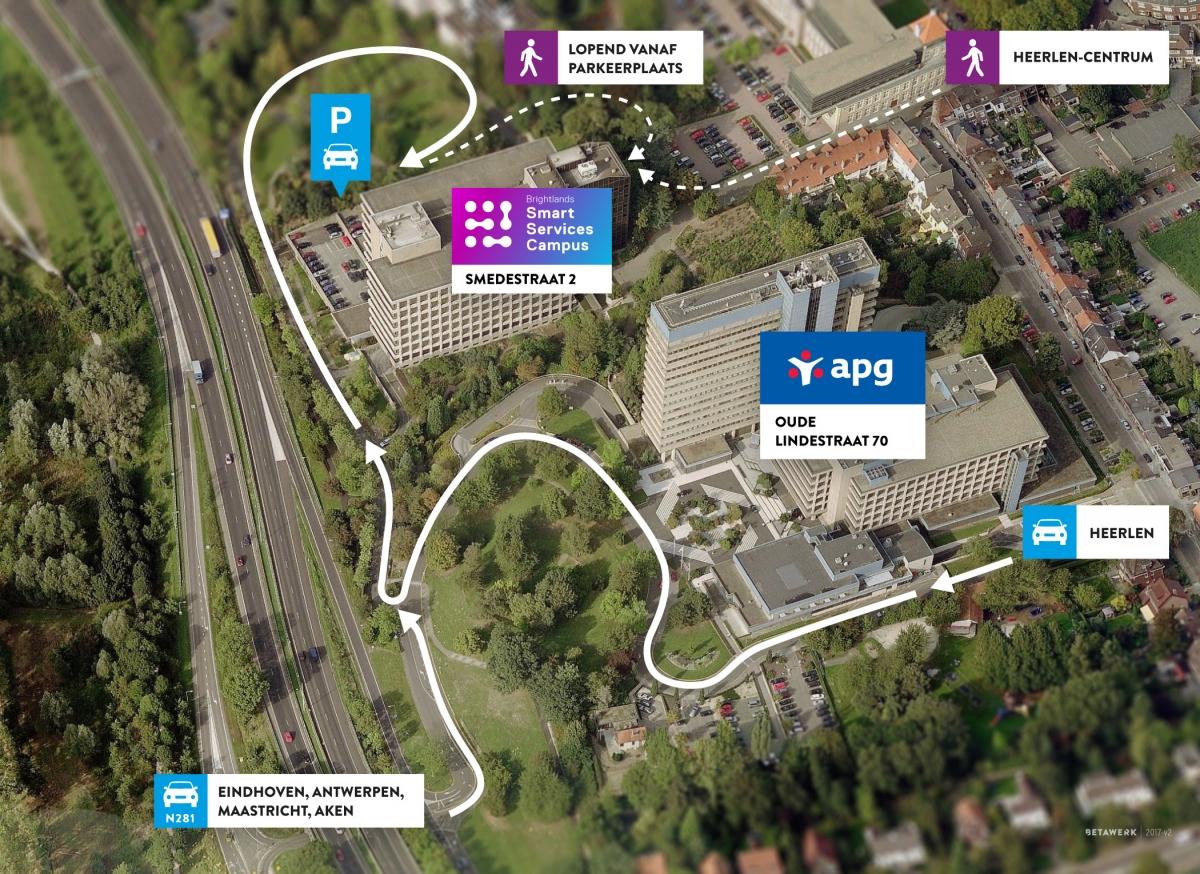 Overzichtsfoto van de Brightlands Smart Services Campus op het terrein van APG in Heerlen